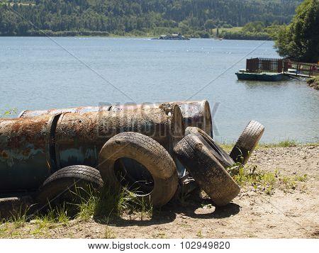 wild dump near a lake