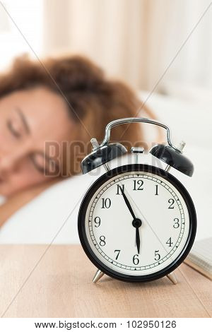 Beautiful Happy Woman Sleeping In Her Bedroom In The Morning