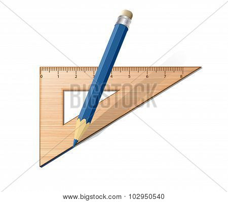 Wooden Ruler With Pencil. Vector Illustration