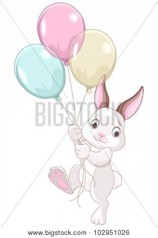 A cute bunny holds of colored balloons