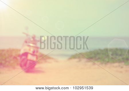 Blur Motorbike On Beach Abstract Background.travel Concept.
