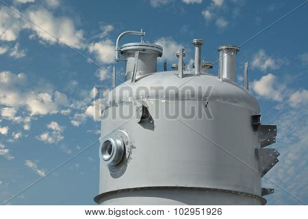 Equipment Silo And Blue Sky Background.