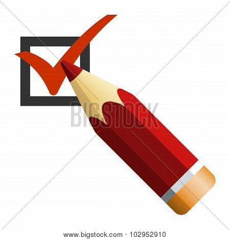 Pencil With Checkbox Icon, Vector Illustration