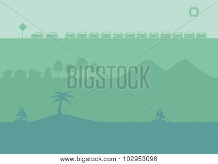 Three Sets Of Vector Silhouette Background In Green