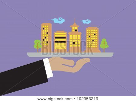Hand Holding Tray With Buildings Vector Illustration