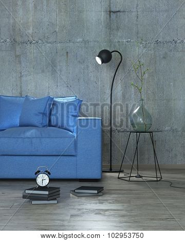 Modern Interior Blue With Sofa Background, 3D