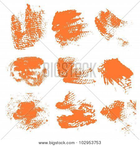 Textured Dry Brush Strokes Of Orange Paint On White Background 1