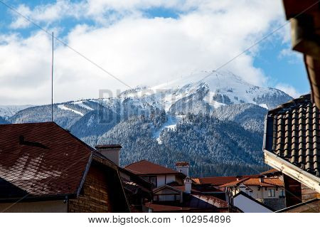 view of ski area in Bansko from the town