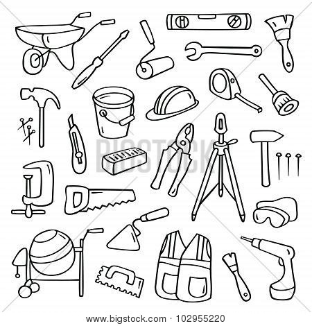 Big Cartoon Set Of  Operating Tools