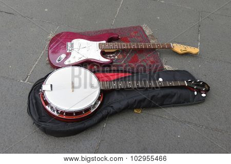 Electric Guitar And Banjo Stringed Instruments