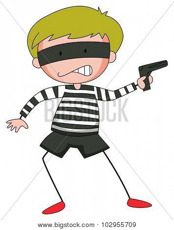 Robber with mask firing  gun illustration