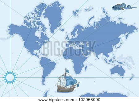 Vector Contour Map With Ship And Monster