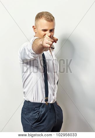 Handsome Man Points His Finger At You