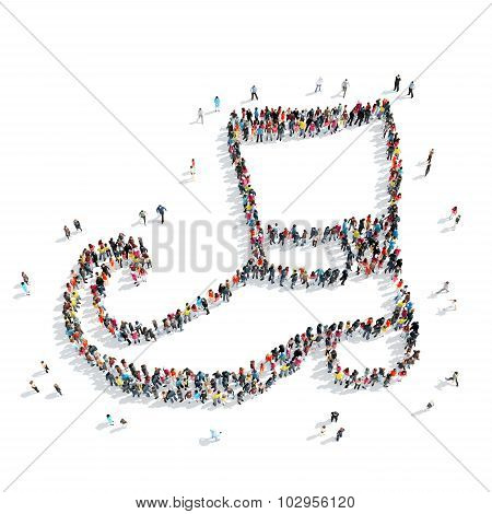 people  shape  boots  crowd