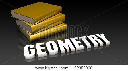 Geometry Subject with a Pile of Education Books