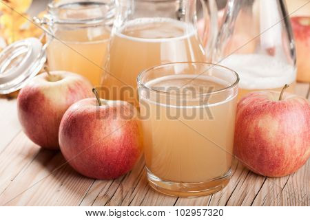 Fresh Apple Juice And Apples