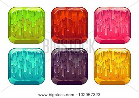 Vector square colorful slime buttons set