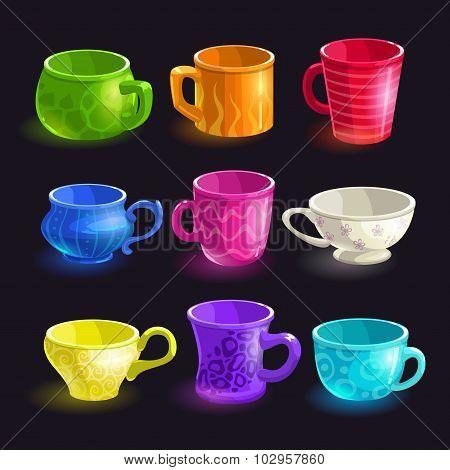 Colorful cartoon tea cups set