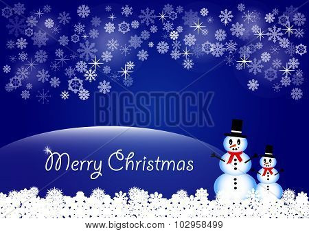 Christmas card vector in blue color