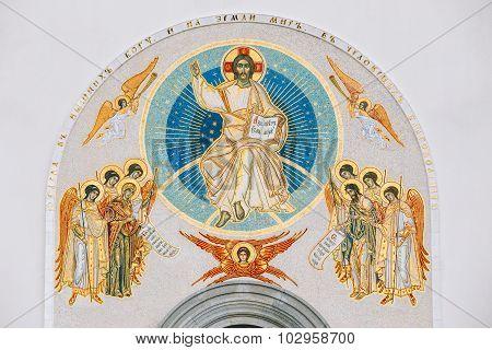Frescoed wall of the All Saints Church In Minsk, Belarus