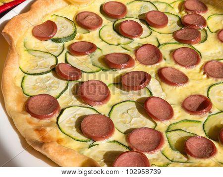 Wurstel And Zucchini Savoury Pie, Baked Puff