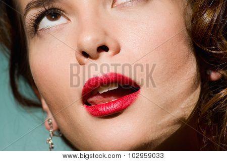 Tip Of Tongue Licks Lips