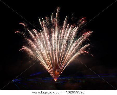 Artistic fireworks. Vilnius fireworks festival. Fireworks fan. Explode. New Year celebration. 4 July