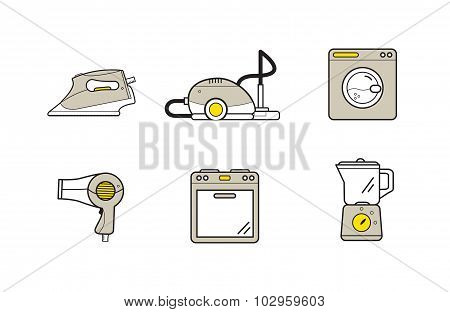 Line icons of home appliances, household devices for cooking and cleaning. Modern infographic vector