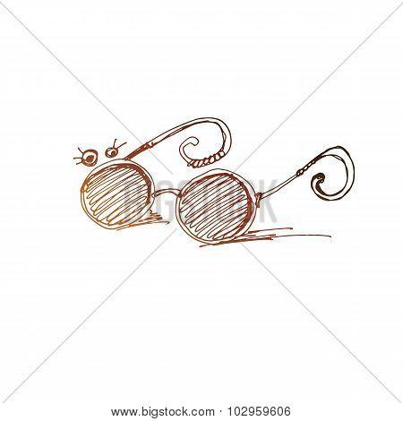 Old Style Eyeglasses Simple Vector Sketch