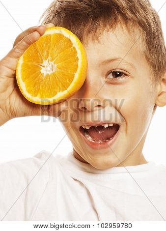 little cute boy with orange fruit double isolated on white smiling without front teeth adorable