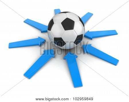 Soccer football with arrows