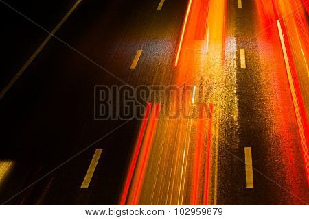 Light Trails On The Road. Long Exposure Photo Taken On The Road