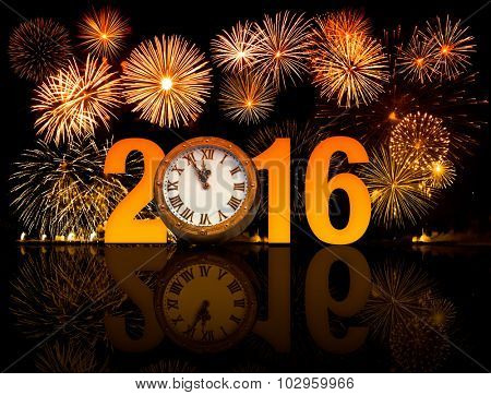 2016 new year fireworks with clock face