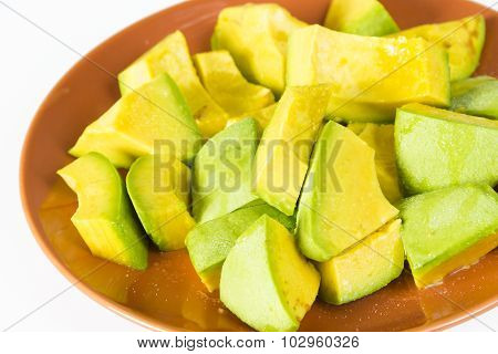 Jamaican or Caribbean Avocado Pieces in Plate