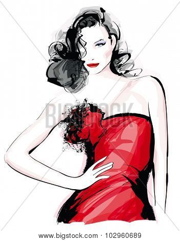 Fashion model with red dress - Vector illustration