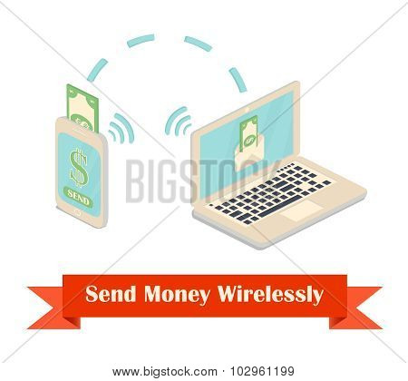 Send money wireless illustration