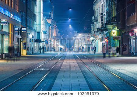 OSIJEK, CROATIA - September 25, 2015: Main street often called 'Korzo' in Slavonian town of Osijek, in east Croatia