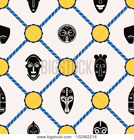 Seamless background with African ritual masks