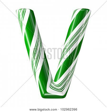 Mint hard candy cane 3d alphabet collection striped in Christmas colours. Letter V.