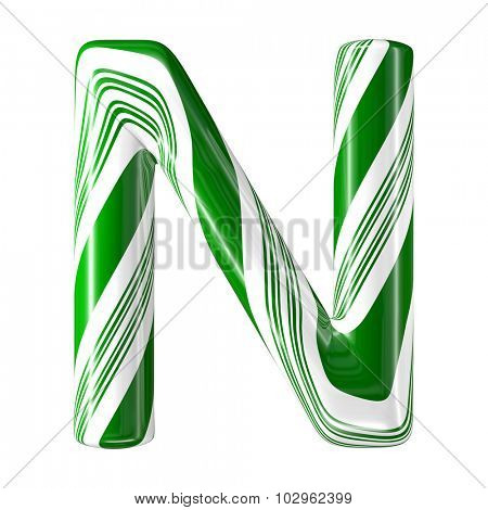 Mint hard candy cane 3d alphabet collection striped in Christmas colours. Letter N.