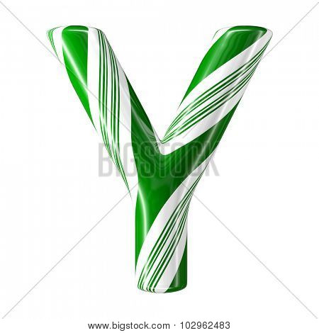 Mint hard candy cane 3d alphabet collection striped in Christmas colours. Letter Y.