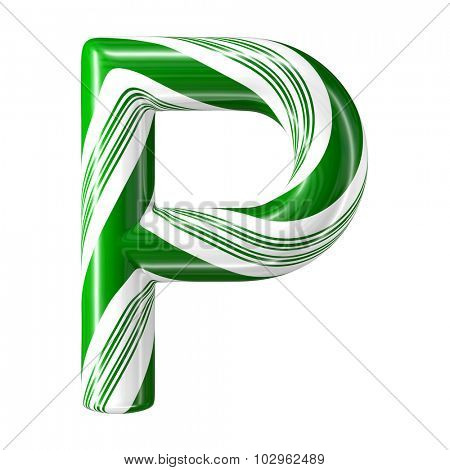 Mint hard candy cane 3d alphabet collection striped in Christmas colours. Letter P.