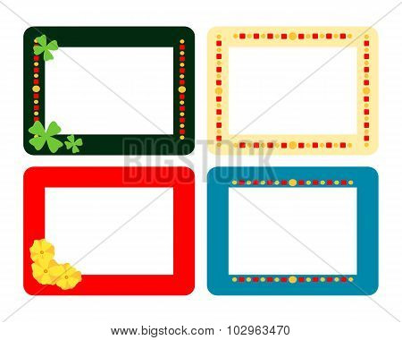 Set of four decorative flat frames