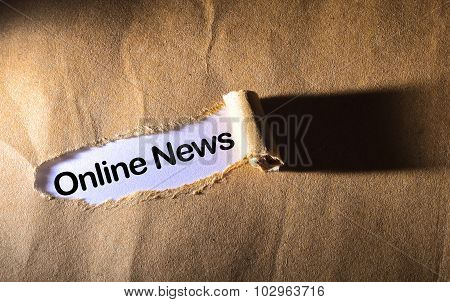Torn Paper With Word Online News