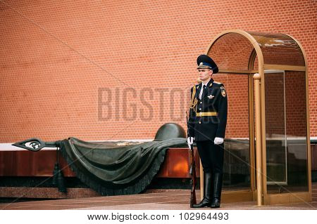 Post honor guard at the Eternal Flame in Moscow at the Tomb of the Unknown Soldier, Russia