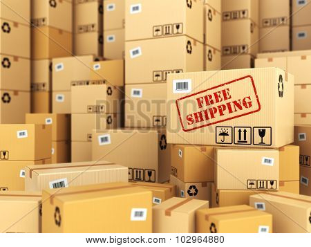 Free shipping or delivery. Cardboard boxes background. 3d