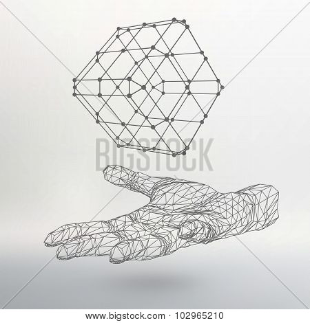Cube of lines and dots on the arm. The hand holding cube of the lines connected to points. Molecular