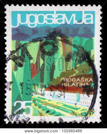 YUGOSLAVIA - CIRCA 1963: A stamp printed in Yugoslavia from the Local Tourism issue shows Rogaska Slatina, Slovenia, circa 1963.