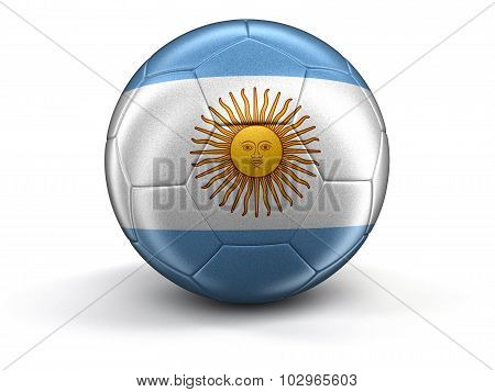 Soccer football with Argentinian flag