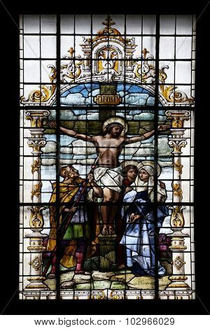 ZAGREB, CROATIA - DECEMBER 27: Crucifixion, Jesus died on the cross, stained glass window in the Basilica of the Sacred Heart of Jesus in Zagreb, Croatia on December 27, 2013